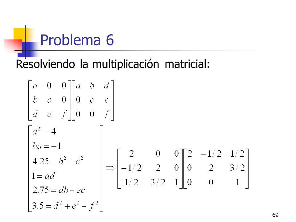 69 Problema 6 Resolviendo la multiplicación matricial: