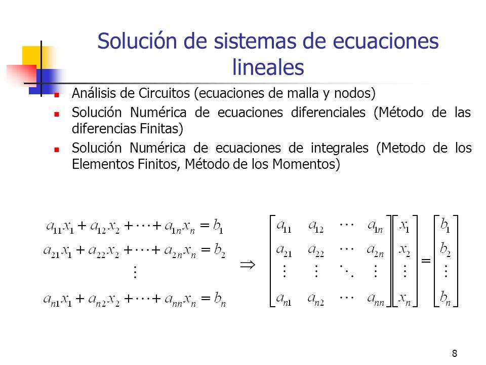 8 Solución de sistemas de ecuaciones lineales Análisis de Circuitos (ecuaciones de malla y nodos) Solución Numérica de ecuaciones diferenciales (Métod