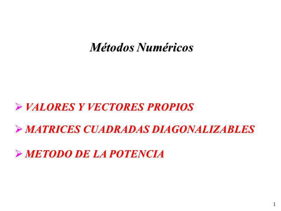 1 Métodos Numéricos VALORES Y VECTORES PROPIOS VALORES Y VECTORES PROPIOS MATRICES CUADRADAS DIAGONALIZABLES MATRICES CUADRADAS DIAGONALIZABLES METODO