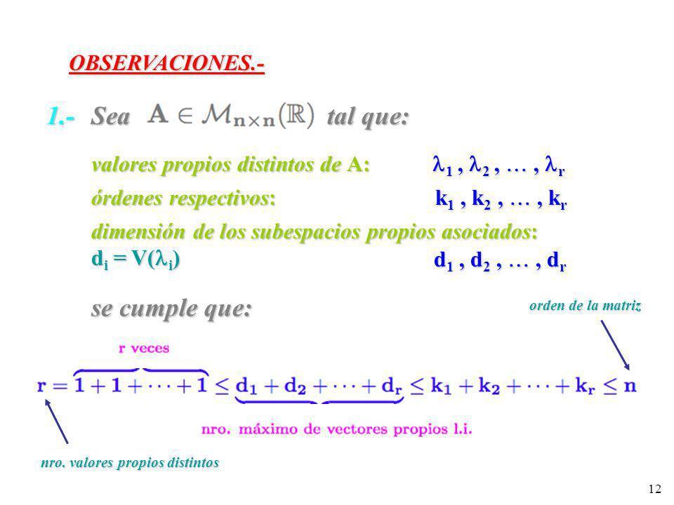 12 OBSERVACIONES.- 1.- Sea tal que: valores propios distintos de A: 1, 2,, r órdenes respectivos: k 1, k 2,, k r dimensión de los subespacios propios