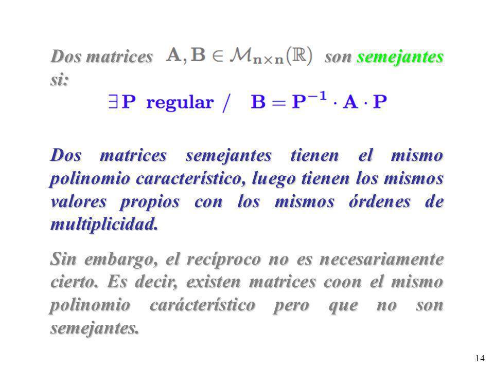 14 Dos matrices son semejantes si: Dos matrices semejantes tienen el mismo polinomio característico, luego tienen los mismos valores propios con los m