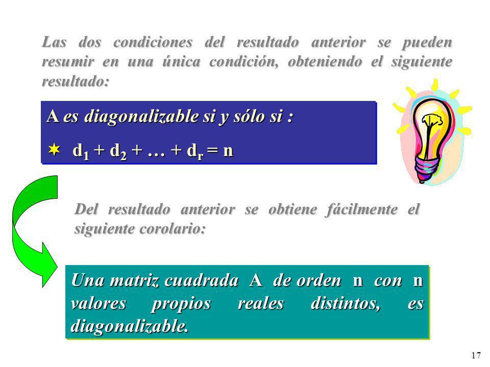 17 Las dos condiciones del resultado anterior se pueden resumir en una única condición, obteniendo el siguiente resultado: A es diagonalizable si y só