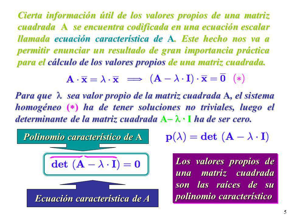 5 Cierta información útil de los valores propios de una matriz cuadrada A se encuentra codificada en una ecuación escalar llamada ecuación característ