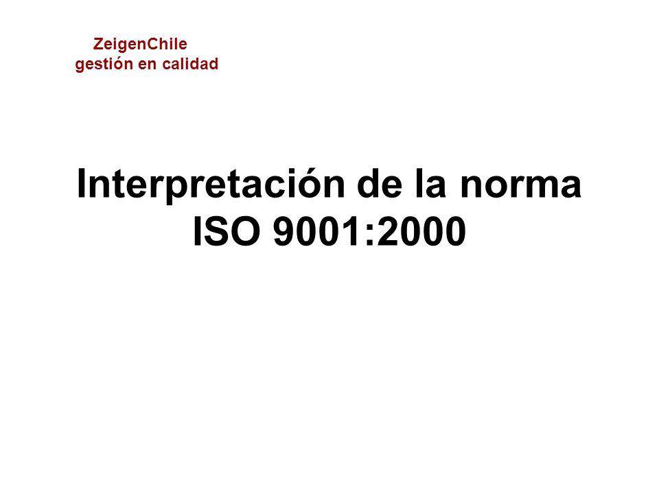 Interpretación de la norma ISO 9001:2000 ZeigenChile gestión en calidad