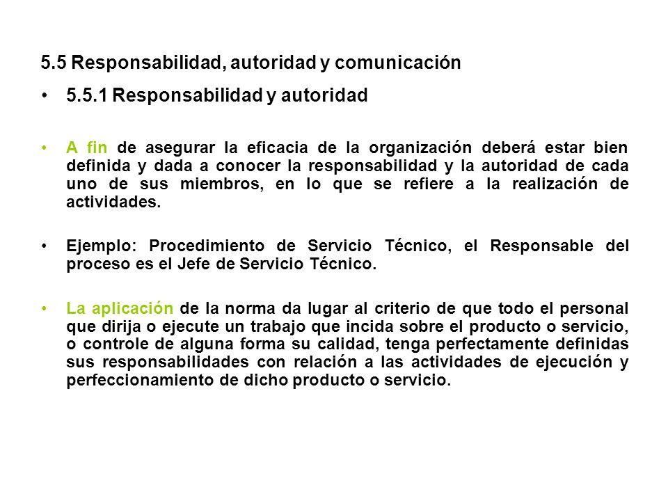 5.5 Responsabilidad, autoridad y comunicación 5.5.1 Responsabilidad y autoridad A fin de asegurar la eficacia de la organización deberá estar bien def