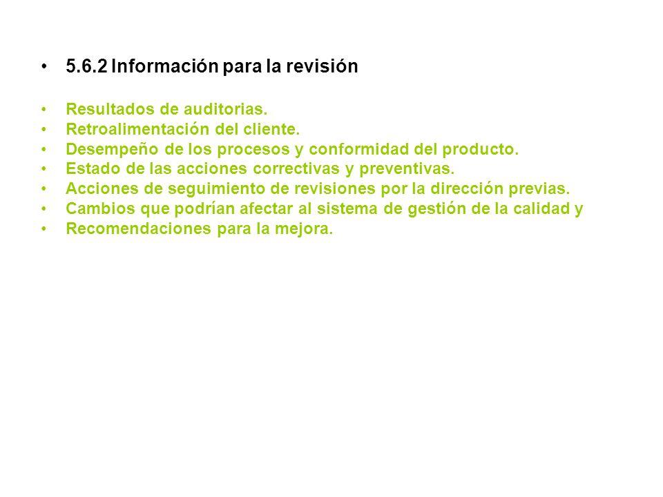 5.6.2 Información para la revisión Resultados de auditorias. Retroalimentación del cliente. Desempeño de los procesos y conformidad del producto. Esta