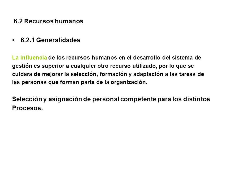 6.2 Recursos humanos 6.2.1 Generalidades La influencia de los recursos humanos en el desarrollo del sistema de gestión es superior a cualquier otro re