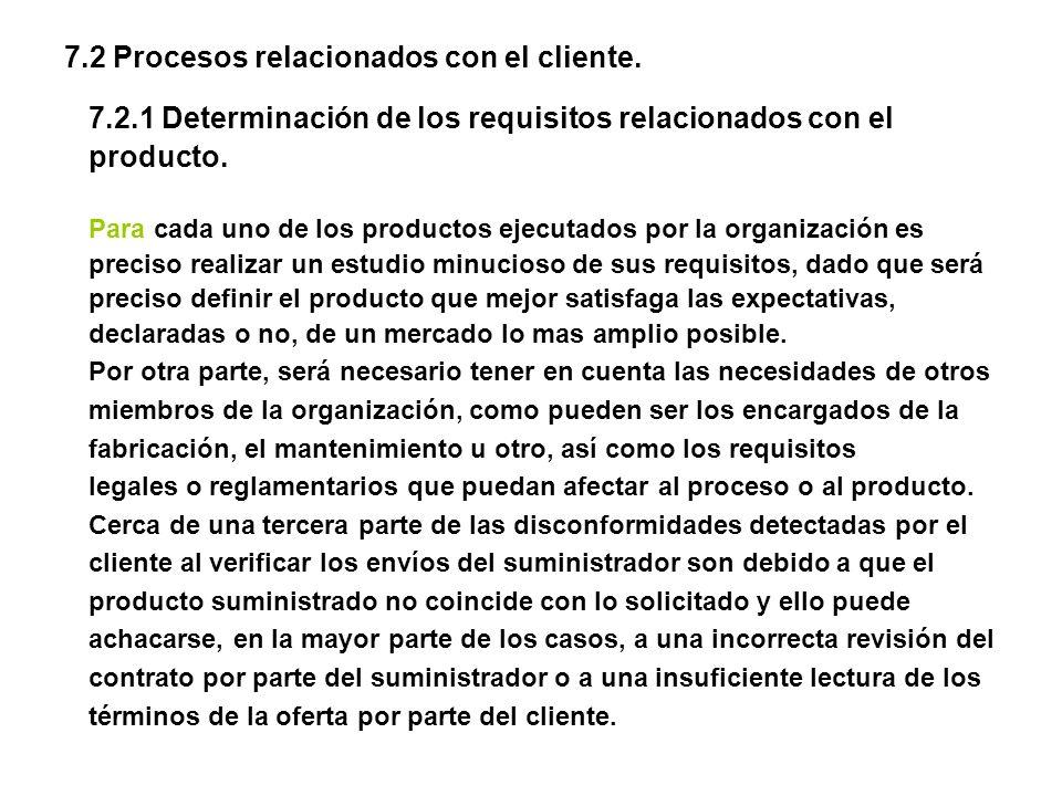 7.2 Procesos relacionados con el cliente. 7.2.1 Determinación de los requisitos relacionados con el producto. Para cada uno de los productos ejecutado