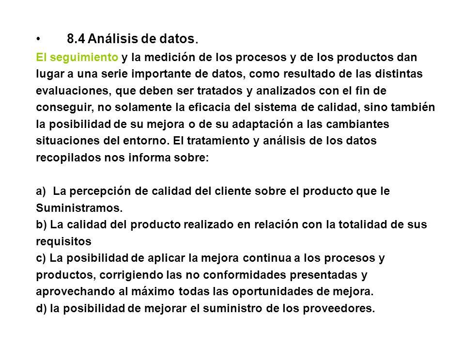 8.4 Análisis de datos. El seguimiento y la medición de los procesos y de los productos dan lugar a una serie importante de datos, como resultado de la