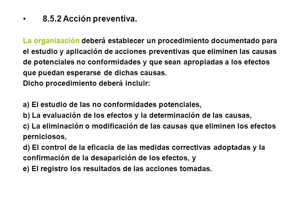 8.5.2 Acción preventiva. La organización deberá establecer un procedimiento documentado para el estudio y aplicación de acciones preventivas que elimi