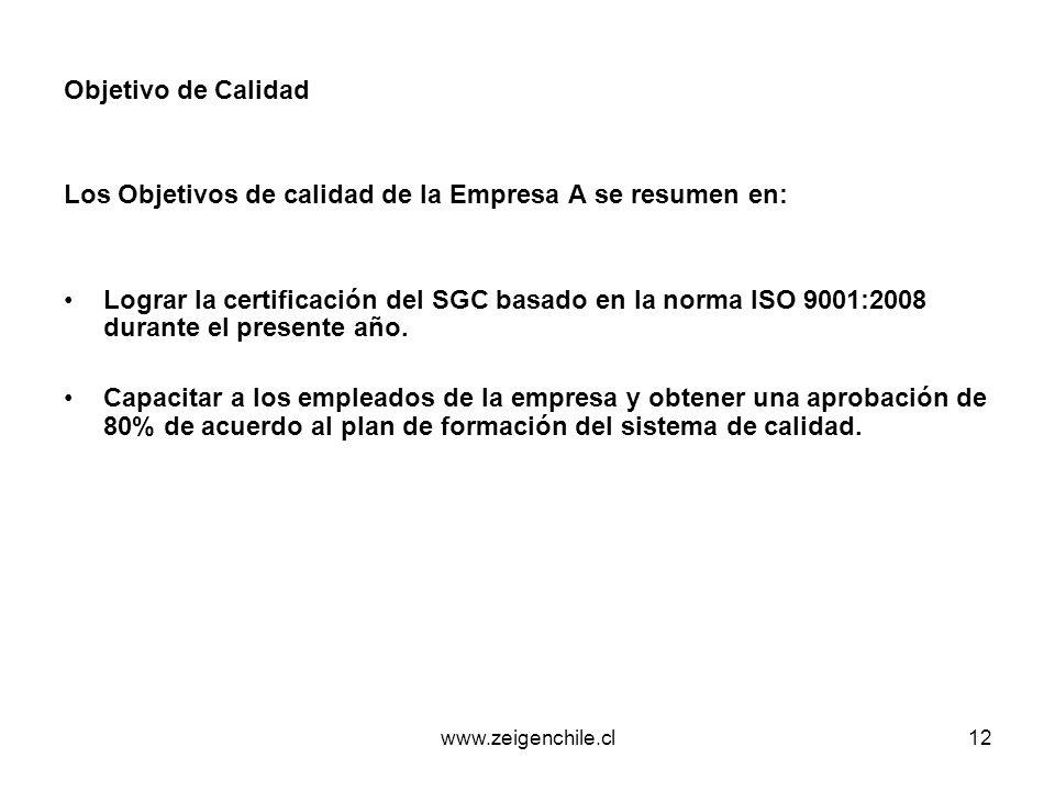 www.zeigenchile.cl12 Objetivo de Calidad Los Objetivos de calidad de la Empresa A se resumen en: Lograr la certificación del SGC basado en la norma IS