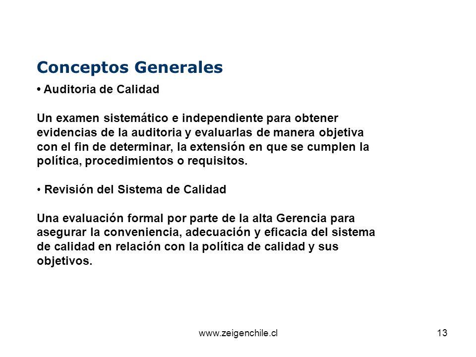 www.zeigenchile.cl13 Conceptos Generales Auditoria de Calidad Un examen sistemático e independiente para obtener evidencias de la auditoria y evaluarl
