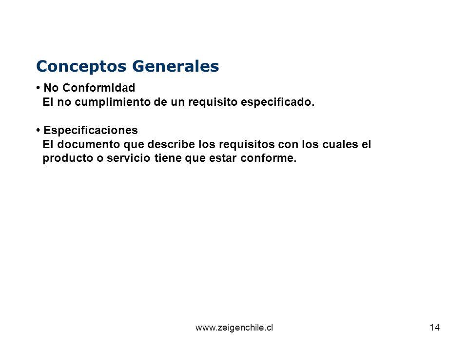 www.zeigenchile.cl14 Conceptos Generales No Conformidad El no cumplimiento de un requisito especificado. Especificaciones El documento que describe lo