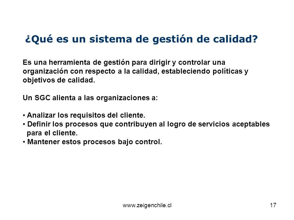 www.zeigenchile.cl17 ¿Qué es un sistema de gestión de calidad? Es una herramienta de gestión para dirigir y controlar una organización con respecto a