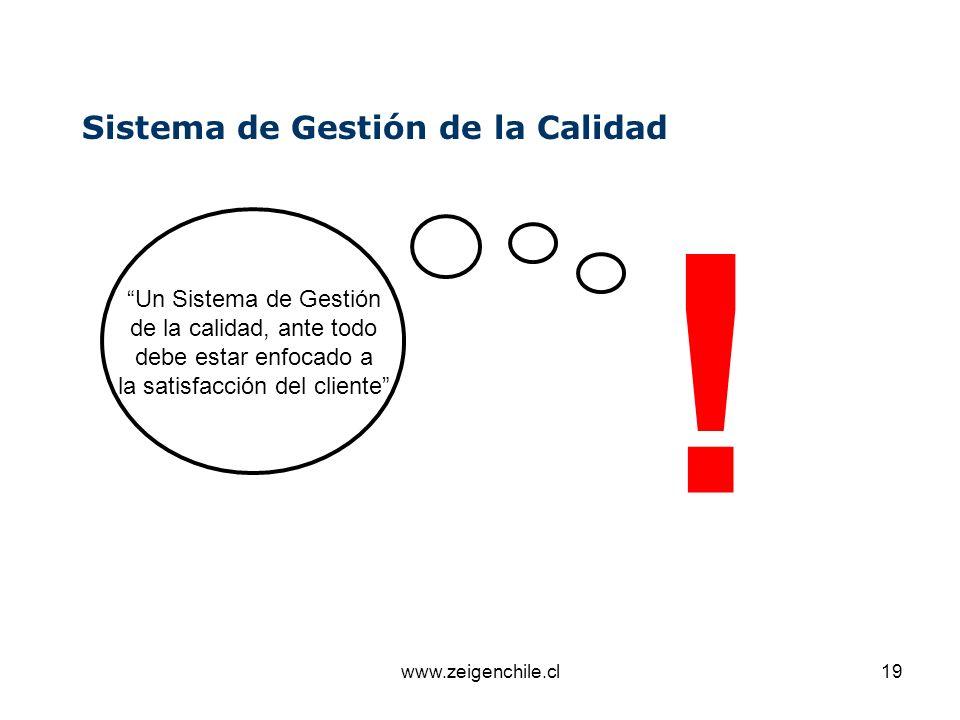 www.zeigenchile.cl19 Sistema de Gestión de la Calidad Un Sistema de Gestión de la calidad, ante todo debe estar enfocado a la satisfacción del cliente
