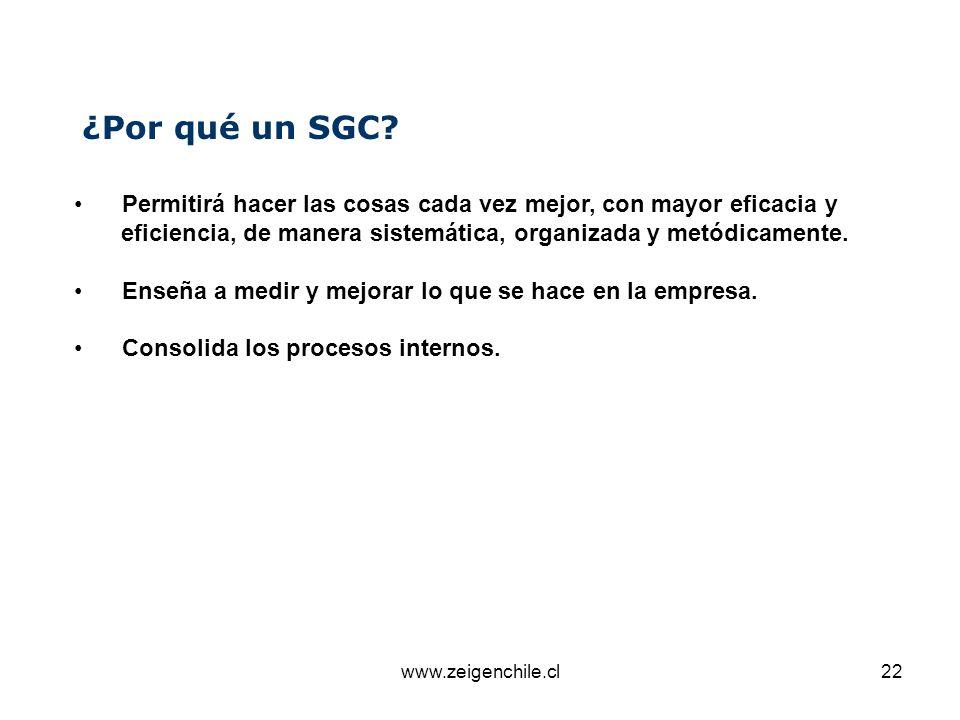 www.zeigenchile.cl22 ¿Por qué un SGC? Permitirá hacer las cosas cada vez mejor, con mayor eficacia y eficiencia, de manera sistemática, organizada y m