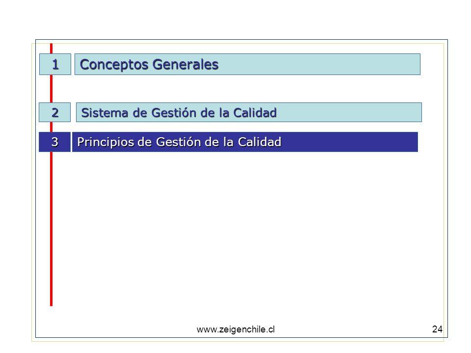 www.zeigenchile.cl24 1 Conceptos Generales Sistema de Gestión de la Calidad 2 3 Principios de Gestión de la Calidad
