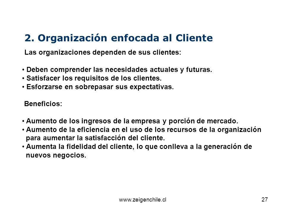 www.zeigenchile.cl27 2. Organización enfocada al Cliente Las organizaciones dependen de sus clientes: Deben comprender las necesidades actuales y futu