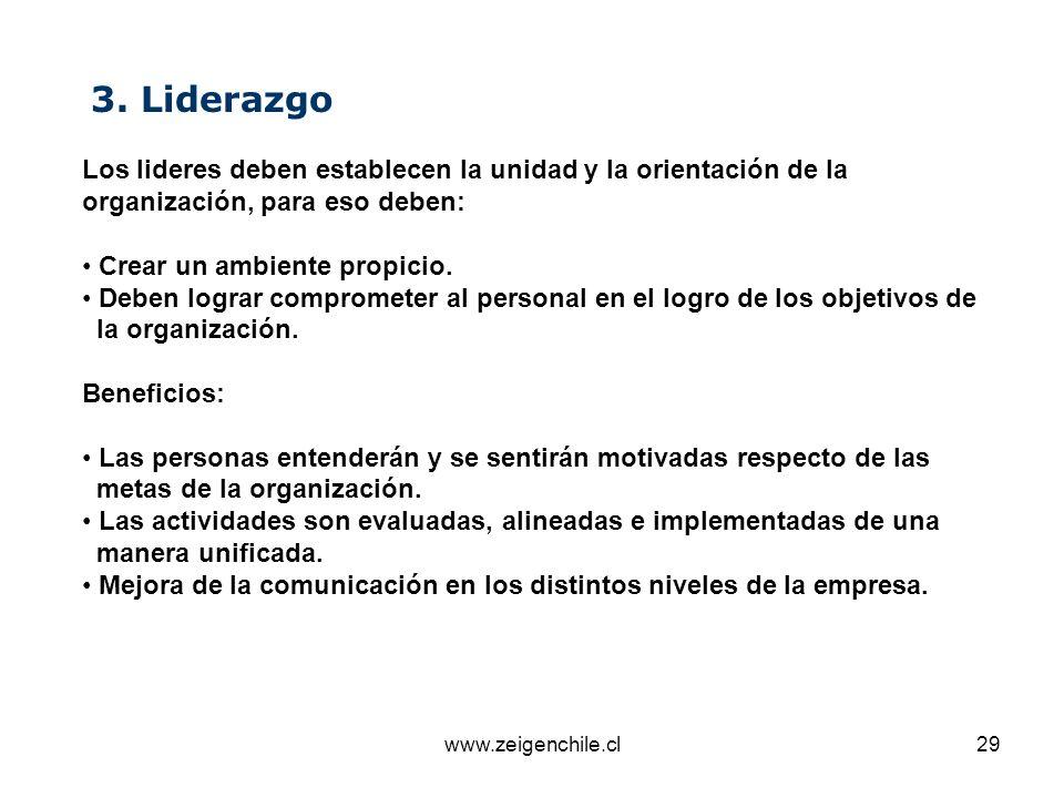 www.zeigenchile.cl29 3. Liderazgo Los lideres deben establecen la unidad y la orientación de la organización, para eso deben: Crear un ambiente propic