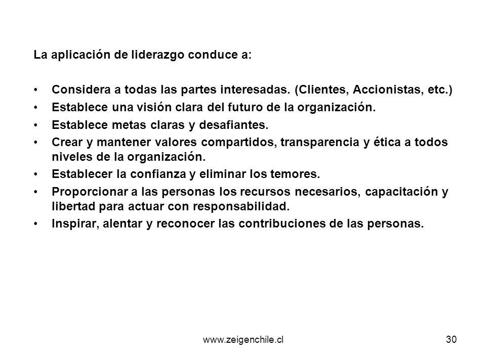 www.zeigenchile.cl30 La aplicación de liderazgo conduce a: Considera a todas las partes interesadas. (Clientes, Accionistas, etc.) Establece una visió