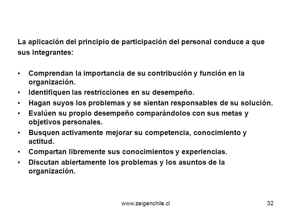www.zeigenchile.cl32 La aplicación del principio de participación del personal conduce a que sus integrantes: Comprendan la importancia de su contribu
