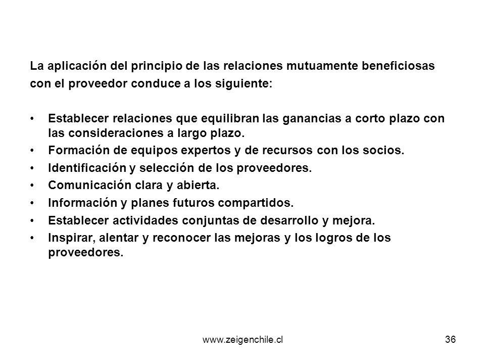 www.zeigenchile.cl36 La aplicación del principio de las relaciones mutuamente beneficiosas con el proveedor conduce a los siguiente: Establecer relaci
