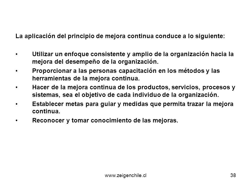 www.zeigenchile.cl38 La aplicación del principio de mejora continua conduce a lo siguiente: Utilizar un enfoque consistente y amplio de la organizació