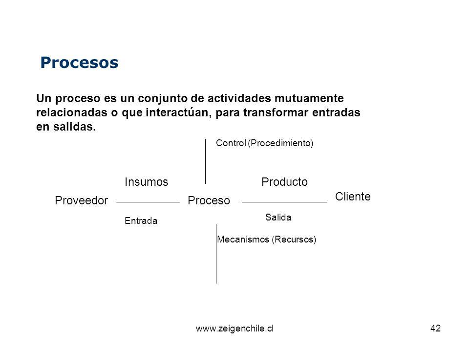 www.zeigenchile.cl42 Un proceso es un conjunto de actividades mutuamente relacionadas o que interactúan, para transformar entradas en salidas. Proceso