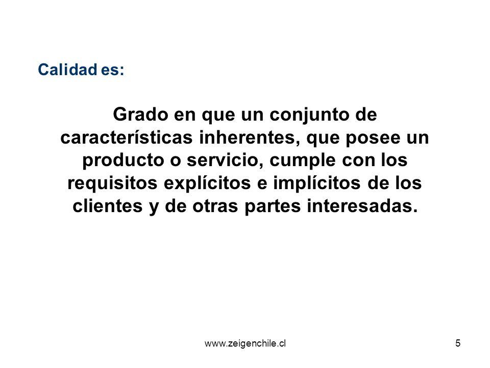 www.zeigenchile.cl16 1 Conceptos Generales Sistema de Gestión de la Calidad 2 3 Principios de Gestión de la Calidad