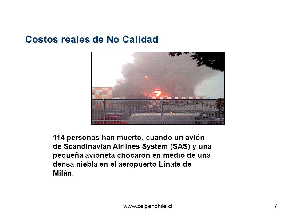 www.zeigenchile.cl7 Costos reales de No Calidad 114 personas han muerto, cuando un avión de Scandinavian Airlines System (SAS) y una pequeña avioneta