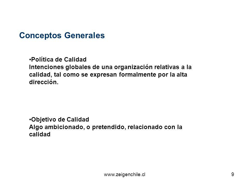www.zeigenchile.cl9 Conceptos Generales Política de Calidad Intenciones globales de una organización relativas a la calidad, tal como se expresan form