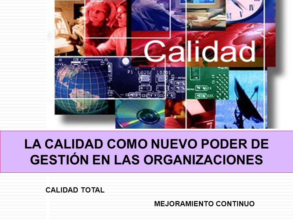 LA CALIDAD COMO NUEVO PODER DE GESTIÓN EN LAS ORGANIZACIONES CALIDAD TOTAL MEJORAMIENTO CONTINUO