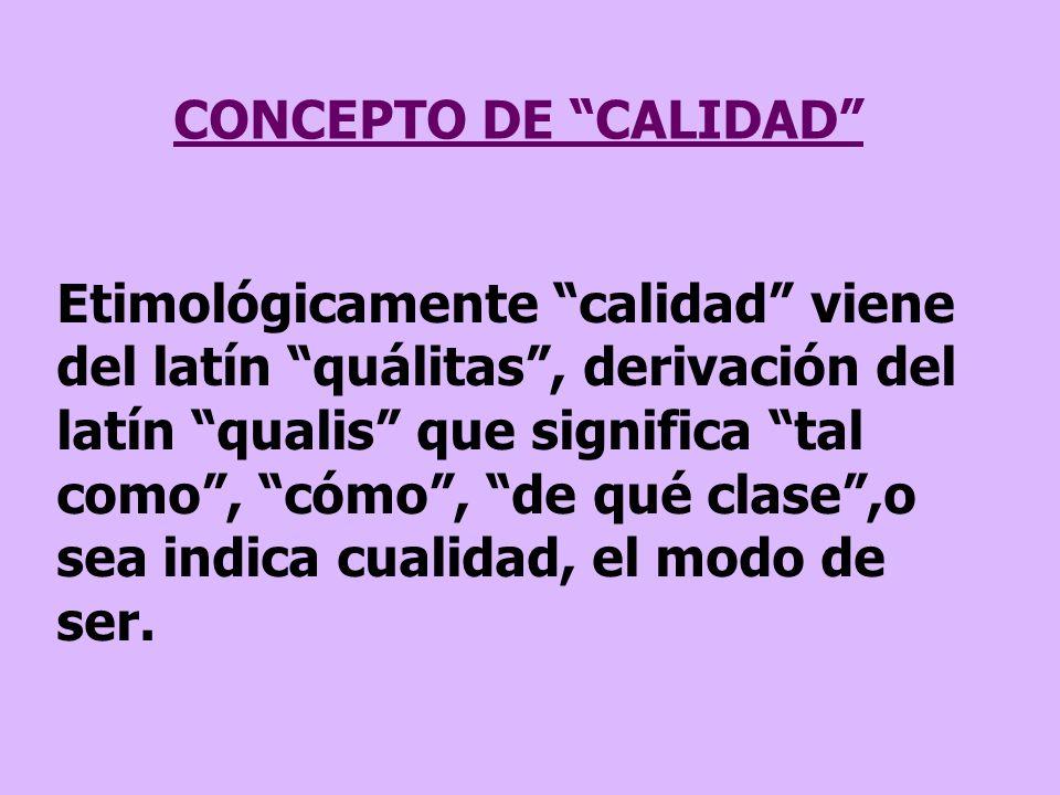CONCEPTO DE CALIDAD Etimológicamente calidad viene del latín quálitas, derivación del latín qualis que significa tal como, cómo, de qué clase,o sea in