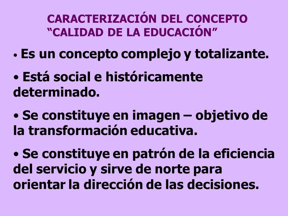 CARACTERIZACIÓN DEL CONCEPTO CALIDAD DE LA EDUCACIÓN Es un concepto complejo y totalizante. Está social e históricamente determinado. Se constituye en