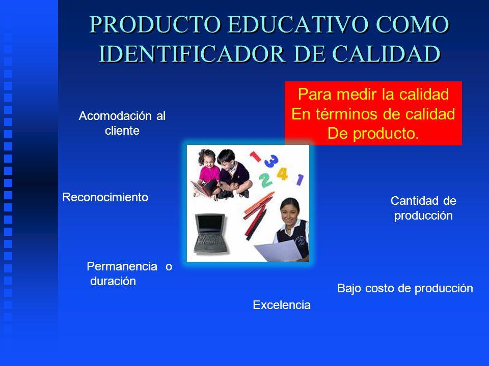 PRODUCTO EDUCATIVO COMO IDENTIFICADOR DE CALIDAD Acomodación al cliente Reconocimiento Permanencia o duración Excelencia Para medir la calidad En térm