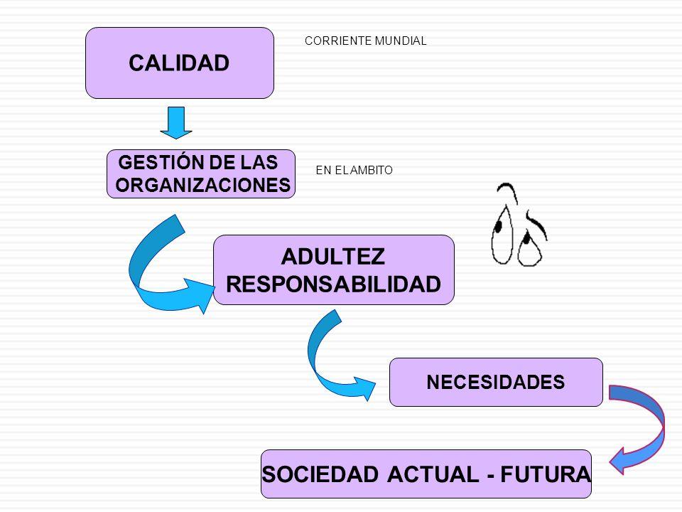CALIDAD GESTIÓN DE LAS ORGANIZACIONES ADULTEZ RESPONSABILIDAD NECESIDADES SOCIEDAD ACTUAL - FUTURA CORRIENTE MUNDIAL EN EL AMBITO