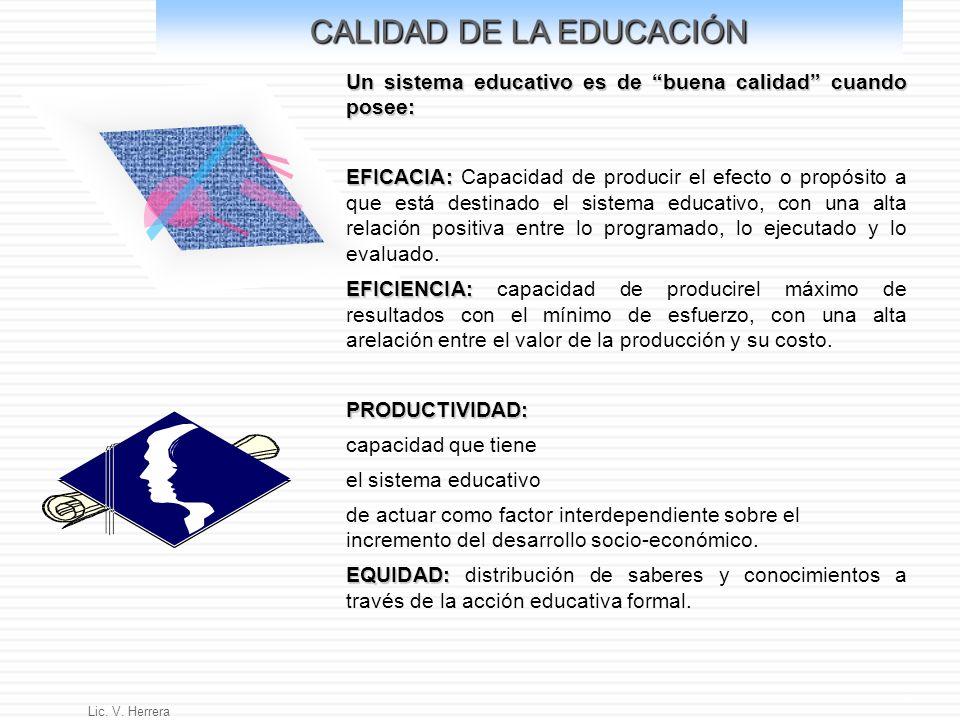 Lic. V. Herrera 4 CALIDAD DE LA EDUCACIÓN Un sistema educativo es de buena calidad cuando posee: EFICACIA: EFICACIA: Capacidad de producir el efecto o