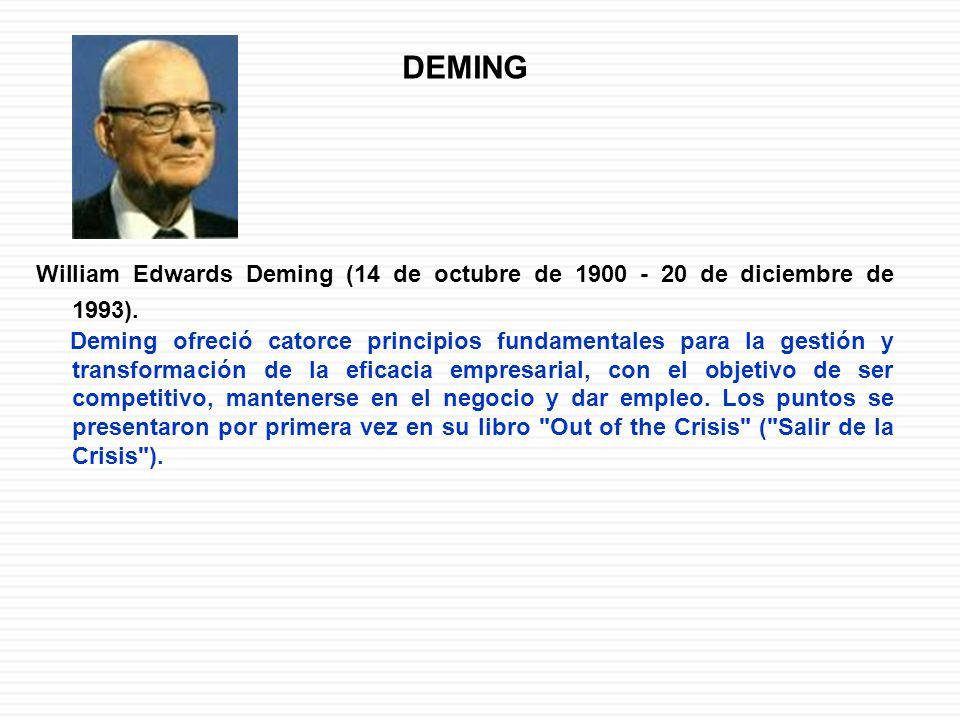 DEMING William Edwards Deming (14 de octubre de 1900 - 20 de diciembre de 1993). Deming ofreció catorce principios fundamentales para la gestión y tra