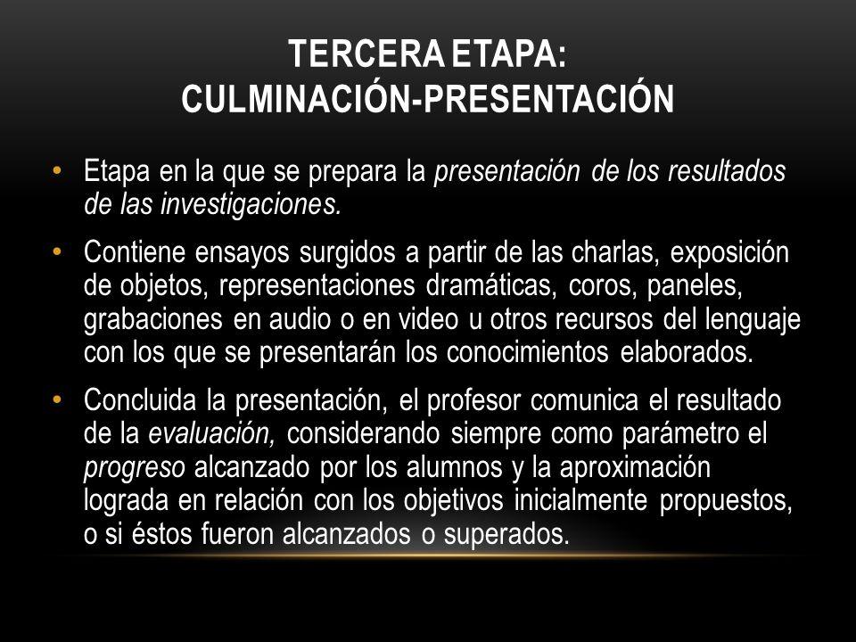 TERCERA ETAPA: CULMINACIÓN-PRESENTACIÓN Etapa en la que se prepara la presentación de los resultados de las investigaciones. Contiene ensayos surgidos
