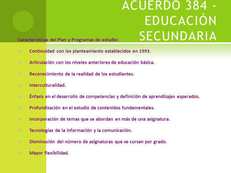 ACUERDO 494 - EDUCACIÓN PRIMARIA CARACTERÍSTICAS: ARTICULACIÓN CURRICULAR DE LA EDUCACIÓN BÁSICA.