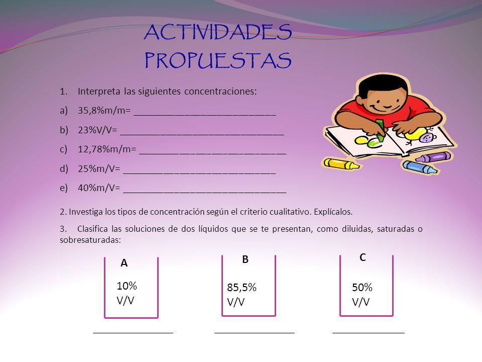 ACTIVIDADES PROPUESTAS 1.Interpreta las siguientes concentraciones: a)35,8%m/m= ___________________________ b)23%V/V= _______________________________