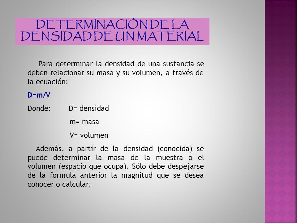SI SE DESEA CALCULAR LA MASA, CONOCIENDO SU DENSIDAD Y SU VOLUMEN De la fórmula principal de densidad se despeja la masa: D=m/V m=D x V SI SE DESEA CALCULAR EL VOLUMEN, CONOCIENDO SU DENSIDAD Y SU MASA De la fórmula principal de densidad se despeja el volumen: D=m/V m=D x V V=m/D
