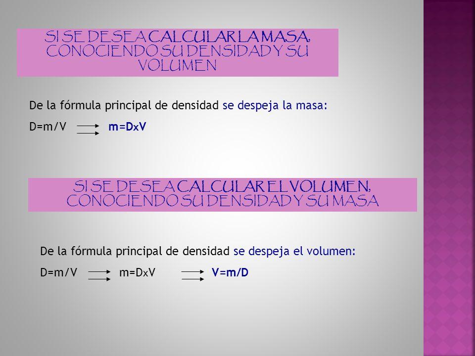 SI SE DESEA CALCULAR LA MASA, CONOCIENDO SU DENSIDAD Y SU VOLUMEN De la fórmula principal de densidad se despeja la masa: D=m/V m=D x V SI SE DESEA CA