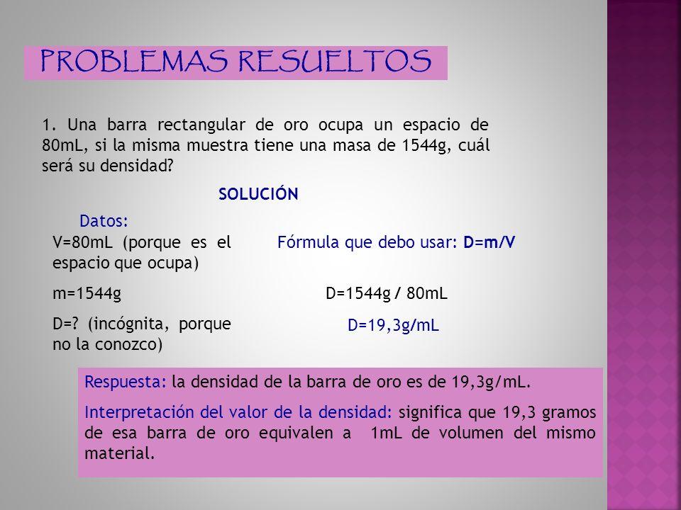 2.La densidad del plomo es de 11,13g/mL. ¿Cuál será el volumen de 40g de esa sustancia.