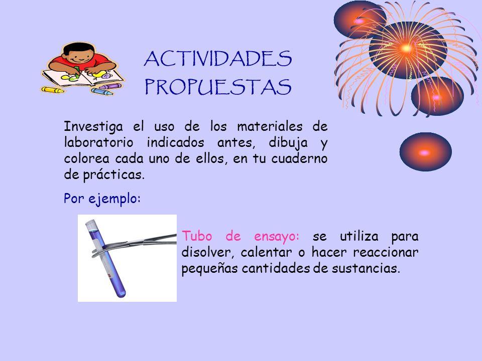 ACTIVIDADES PROPUESTAS Investiga el uso de los materiales de laboratorio indicados antes, dibuja y colorea cada uno de ellos, en tu cuaderno de prácti