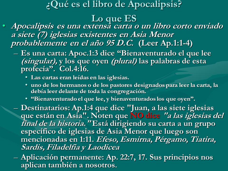 Destinatarios: Siete iglesias de Asia Menor: Efeso, Esmirna, Pérgamo, Tiatira, Sardis, Filadelfia y Laodicea.