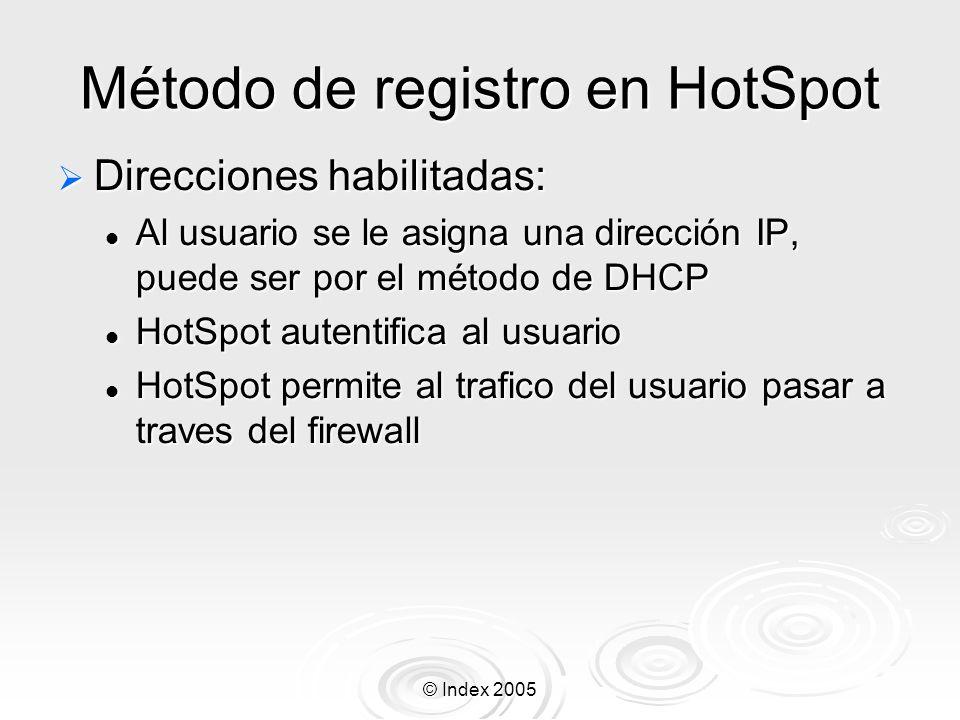© Index 2005 Método de registro en HotSpot Direcciones habilitadas: Direcciones habilitadas: Al usuario se le asigna una dirección IP, puede ser por e