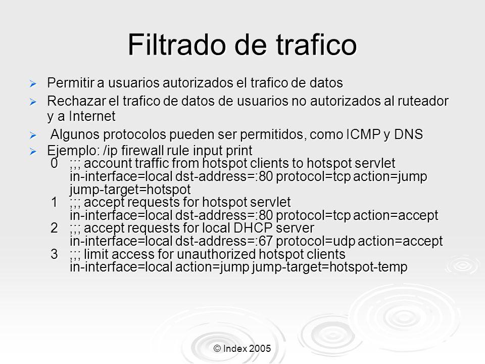© Index 2005 Filtrado de trafico Permitir a usuarios autorizados el trafico de datos Permitir a usuarios autorizados el trafico de datos Rechazar el t