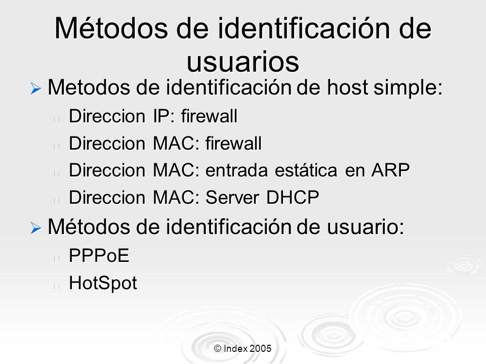 © Index 2005 Métodos de identificación de usuarios Metodos de identificación de host simple: Metodos de identificación de host simple: Direccion IP: f
