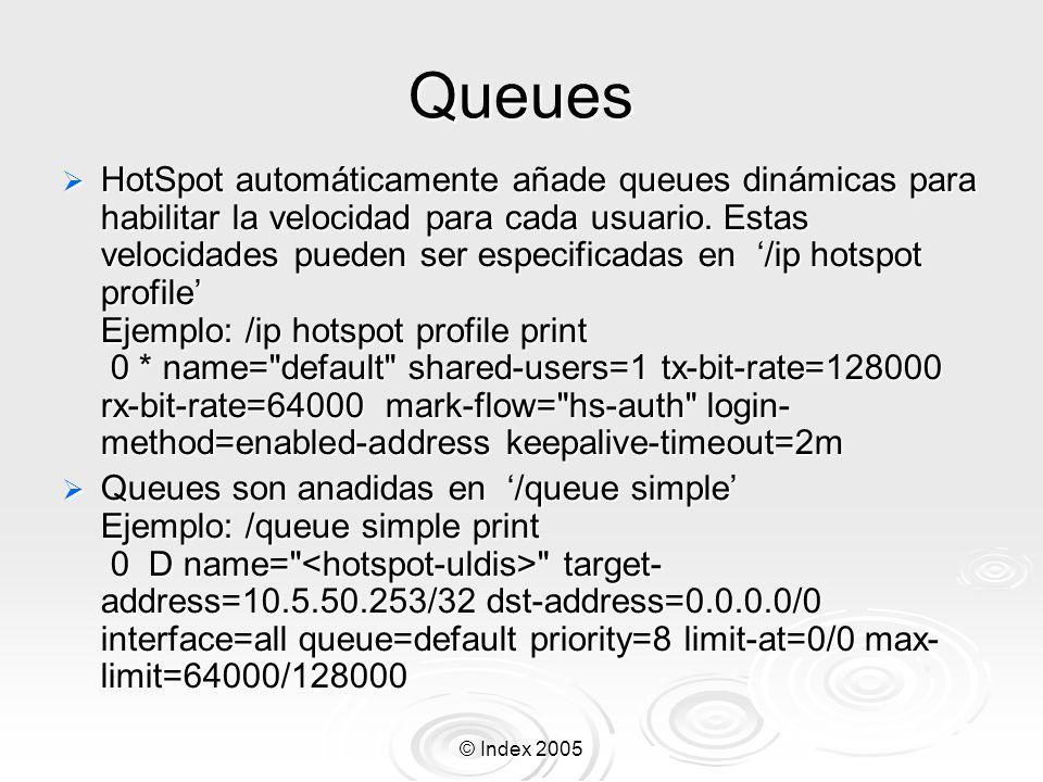 © Index 2005 Queues HotSpot automáticamente añade queues dinámicas para habilitar la velocidad para cada usuario. Estas velocidades pueden ser especif